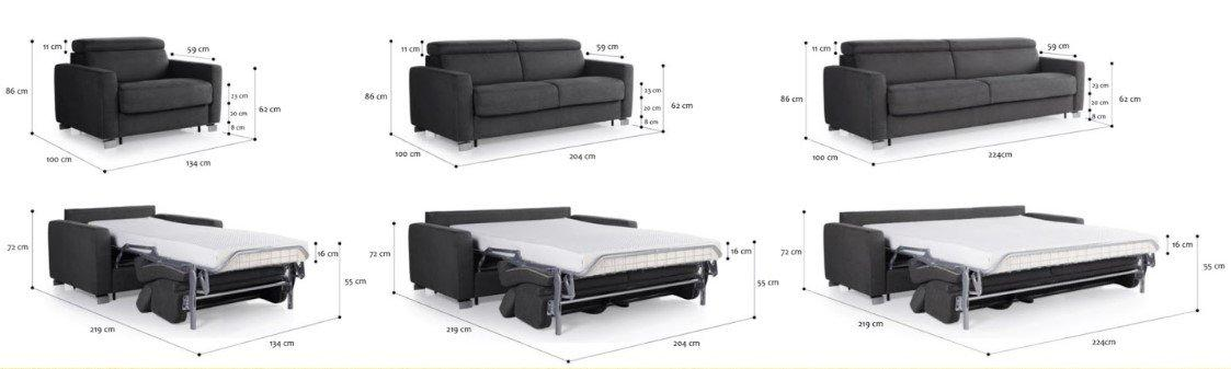 rozkładana sofa Tempur Altamura w różnych wariantach i z ukazaniem sposobów rozkładania i wymiarów