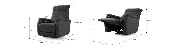 dwa ujęcia na rozkładany fotel Tempur Altamura wraz z wymiarami po złożeniu i rozłożeniu