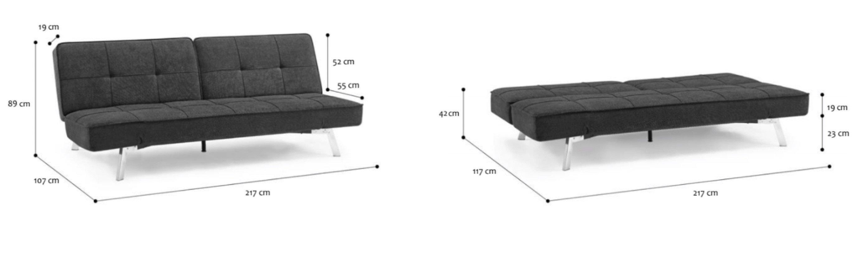 dwa ujęcia na rozkładaną sofę wraz z jej wymiarami – w jednym ujęciu sofa złożona, w drugim rozłożona